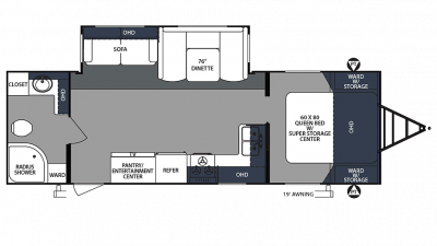 2020 Surveyor Luxury 267RBSS Floor Plan Img