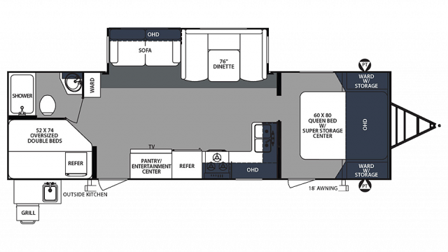 2020 Surveyor Luxury 287BHSS Floor Plan