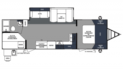2020 Surveyor Luxury 287BHSS Floor Plan Img