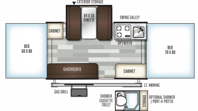 2019 Rockwood Freedom 2318G Floor Plan Img