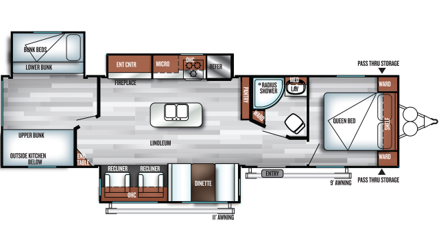 2019 Salem 32BHI Floor Plan Img