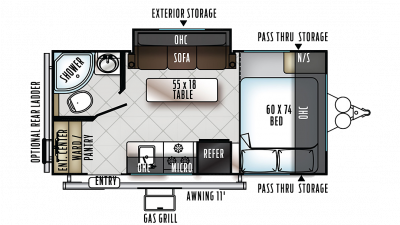 2019 Rockwood Mini Lite 1909S Floor Plan Img