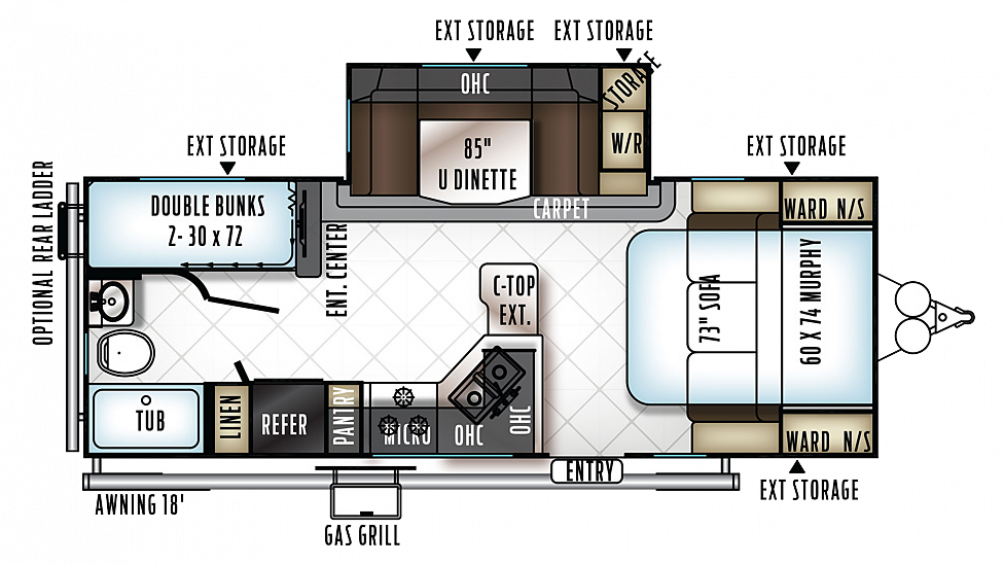 2019 Rockwood Mini Lite 2504S Floor Plan Img