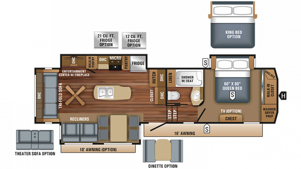 2018 Eagle 321RSTS Floor Plan Img