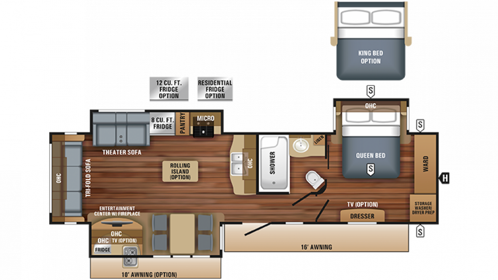 2018 Eagle 322RLOK Floor Plan Img
