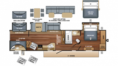 2018 Eagle 333BHOK Floor Plan Img