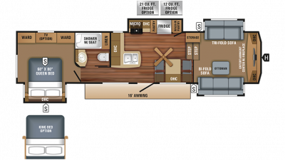 2018 Eagle 339FLQS Floor Plan Img