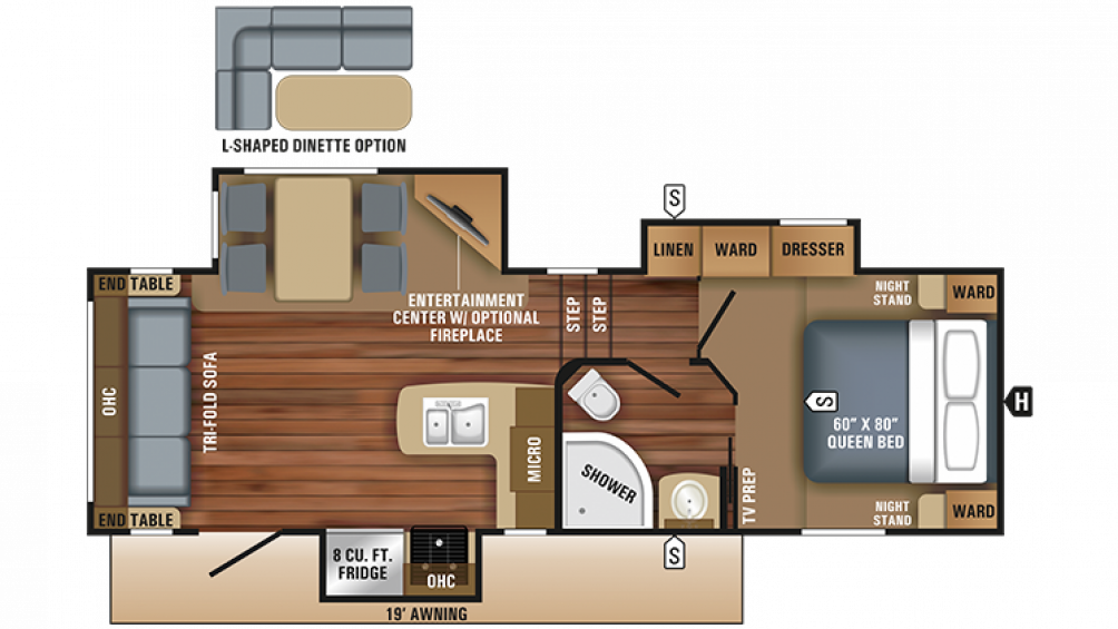 2018 Eagle HT 24.5CKTS Floor Plan Img