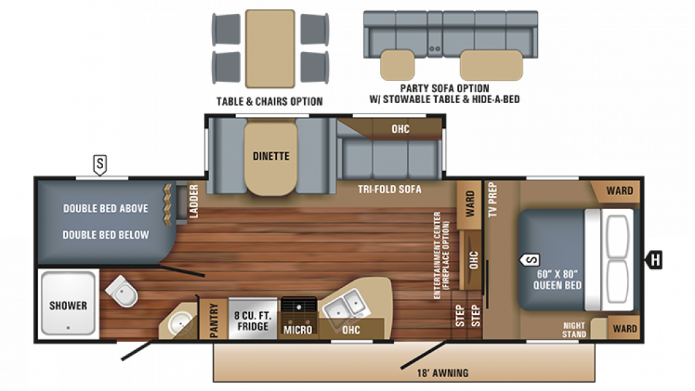2018 Eagle HT 26.5BHS Floor Plan Img