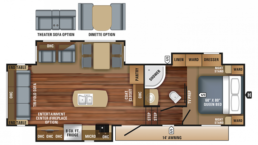 2018 Eagle HT 28.5RSTS Floor Plan Img