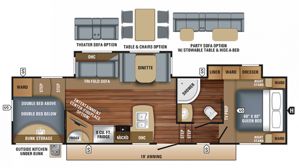 2018 Eagle HT 29.5BHDS Floor Plan Img