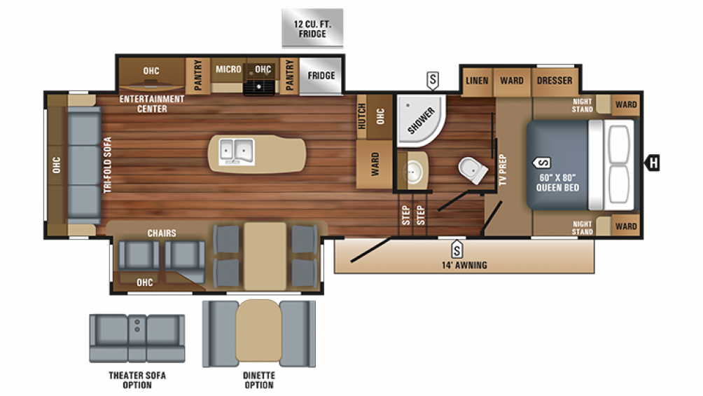 2018 Eagle HT 30.5CKTS Floor Plan Img