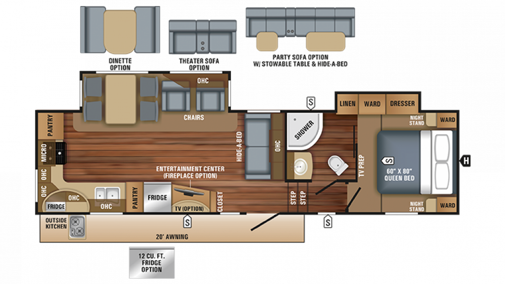 2018 Eagle HT 30.5MLOK Floor Plan Img