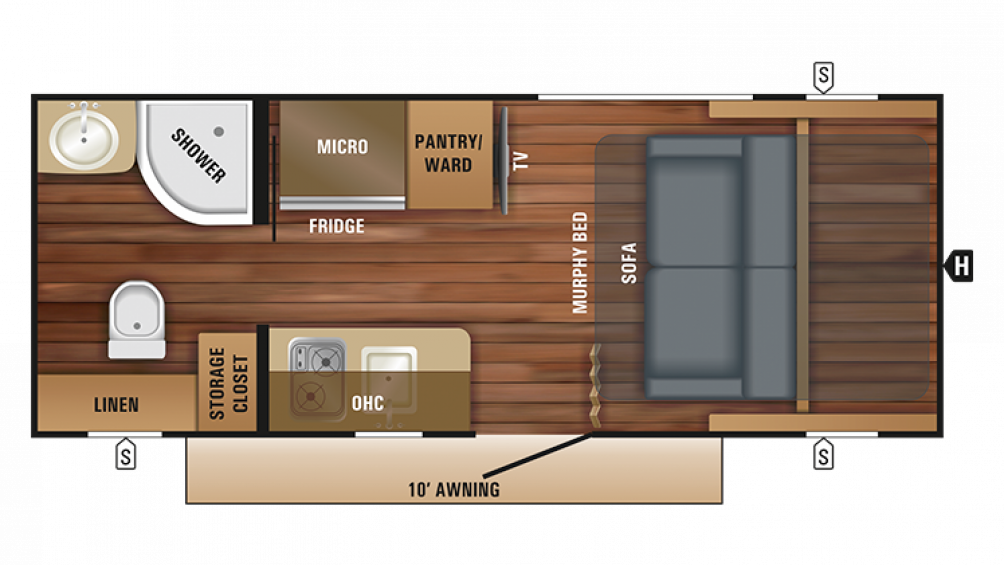 2018 Hummingbird 16MRB Floor Plan Img