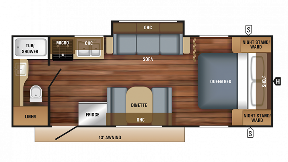 2018 Jay Feather 22RB Floor Plan Img
