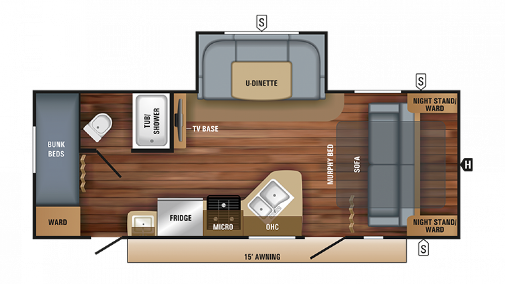 2018 Jay Feather 23BHM Floor Plan Img