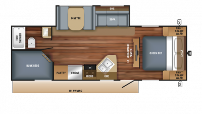2018 Jay Feather 25BH Floor Plan Img