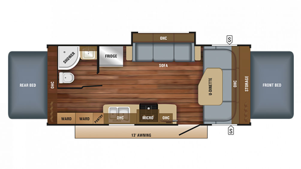 2018 Jay Feather X23B Floor Plan Img