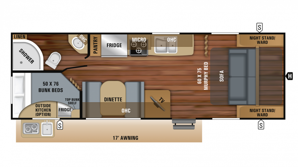 2019 Jay Feather 23BHM Floor Plan Img