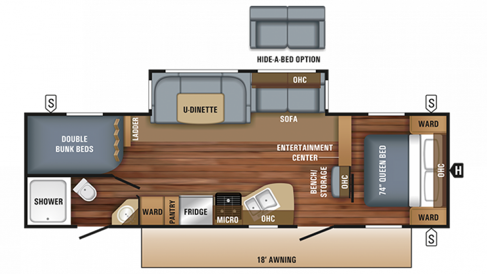 2018 Jay Flight 28BHBE Floor Plan Img