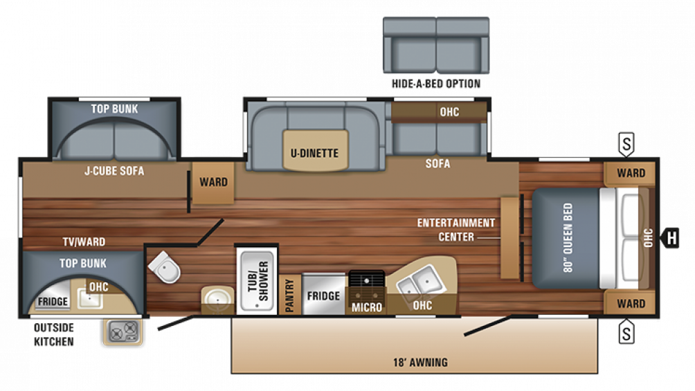 2018 Jay Flight 32BHDS Floor Plan Img