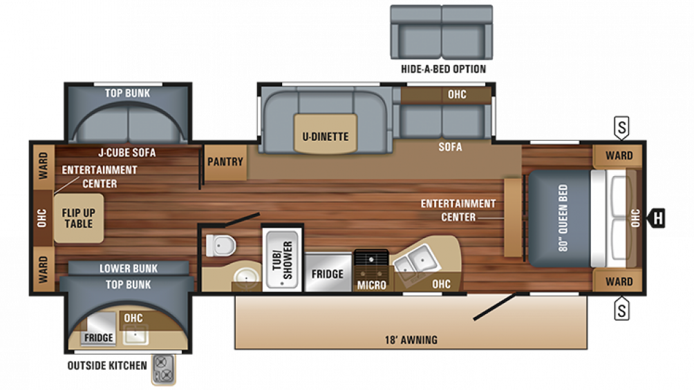 2018 Jay Flight 32TSBH Floor Plan Img