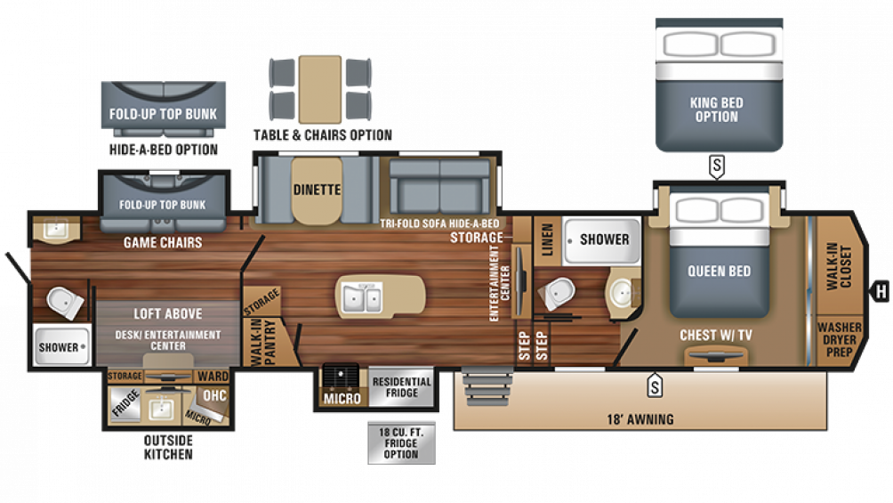 2018 North Point 379DBFS Floor Plan Img