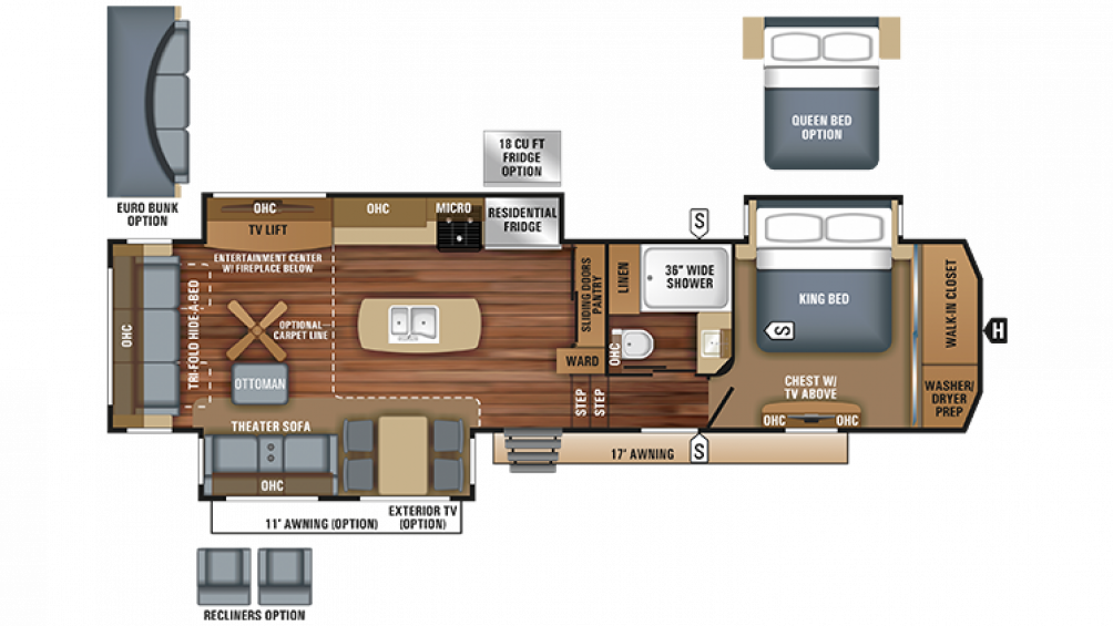 2018 Pinnacle 36KPTS Floor Plan Img