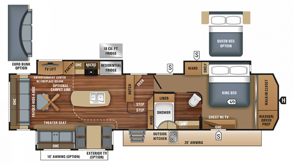 2018 Pinnacle 37RSTS Floor Plan Img