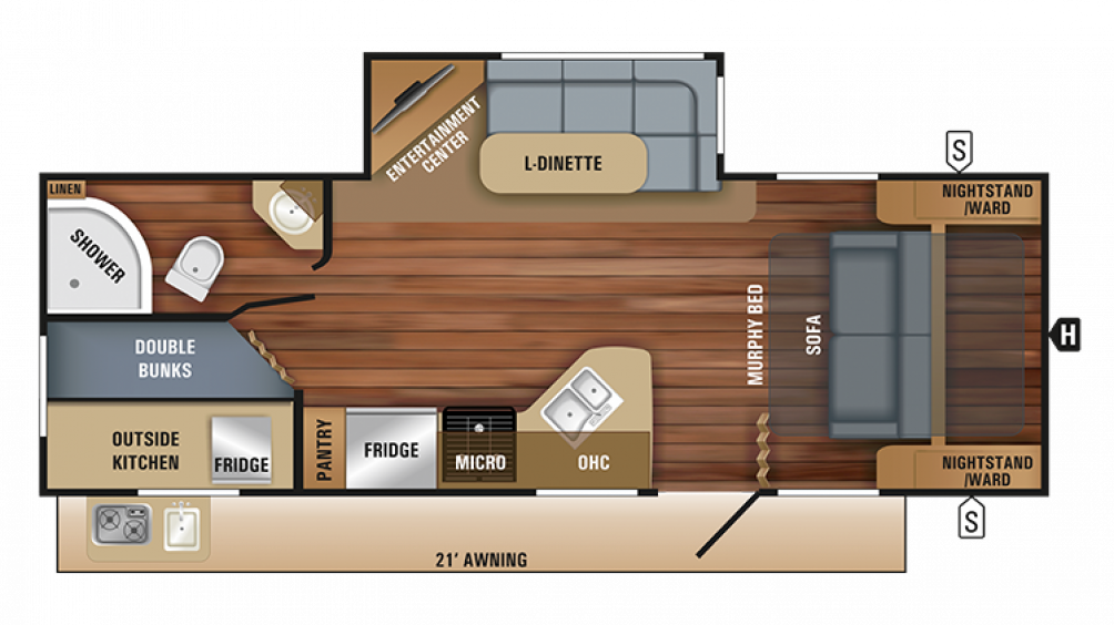 2018 White Hawk 24MBH Floor Plan Img