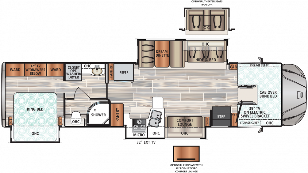 2019 Force HD 37TSHD Floor Plan Img