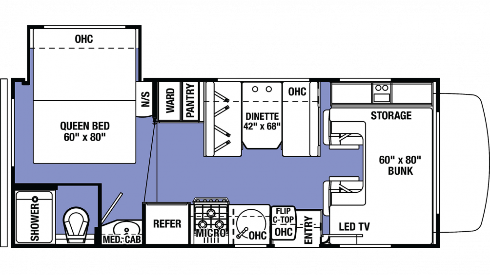 2019 Sunseeker LE 2250S FORD Floor Plan Img