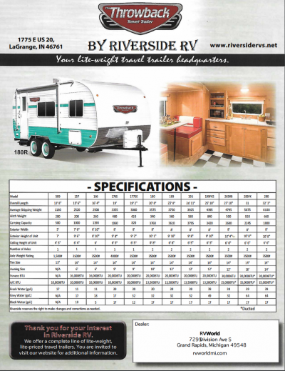 2018 Riverside Throwback RV Brochure Cover
